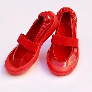 Toddler patent red waterproof slip on shoes